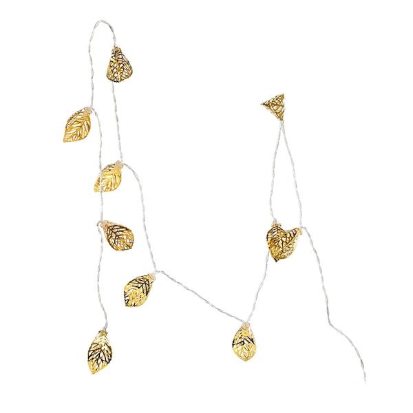 Lichterkette Weinblätter, gold