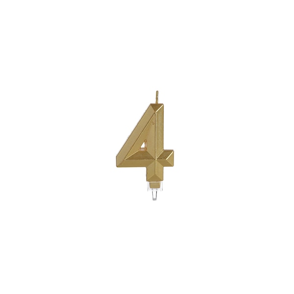 Kuchenkerze Nummer 4, gold