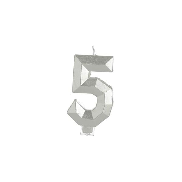Kuchenkerze Nummer 5, silber