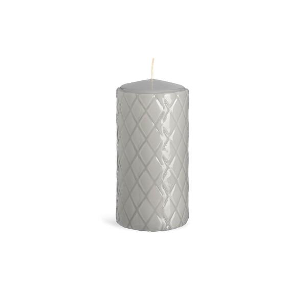 Bougie pilier avec motif losange, hellgrau