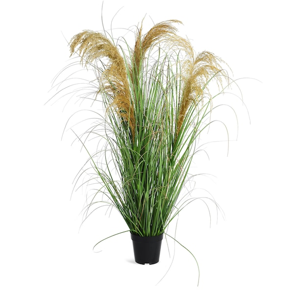 Kunstpflanze Pampasgras im Topf, grün