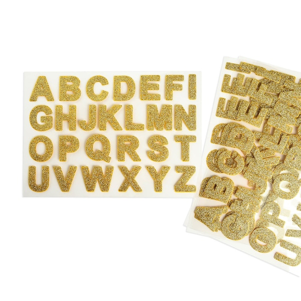 Sticker-Set ABC Glitter, 104er-Set, gold