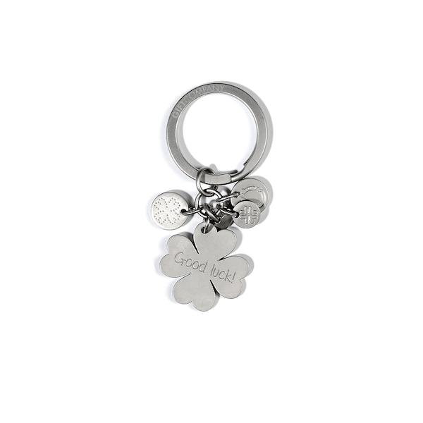 Porte-clés Trèfle à quatre feuilles Good Luck, argent