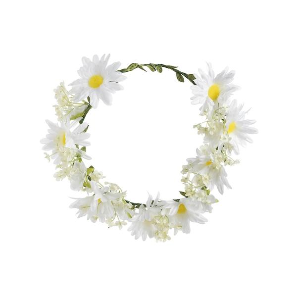 Kunstkranz mit Blumen, weiß