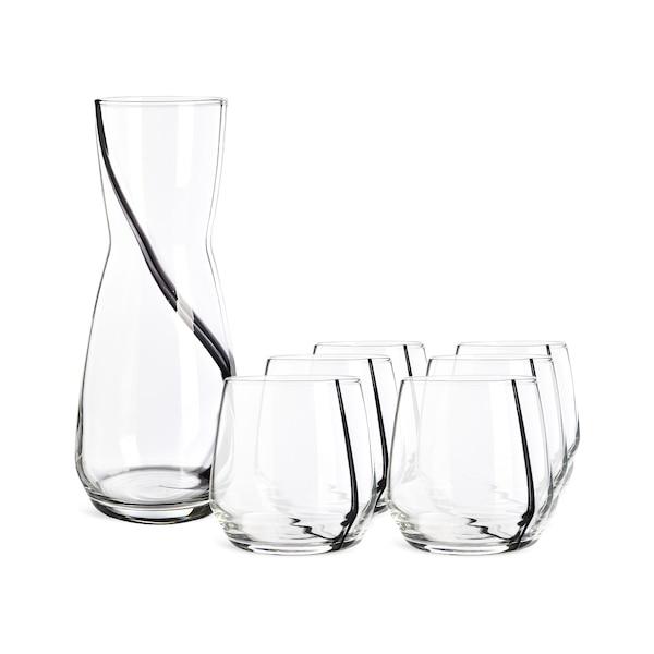 Set Karaffe mit Gläsern One-Line, 7-teilig, schwarz