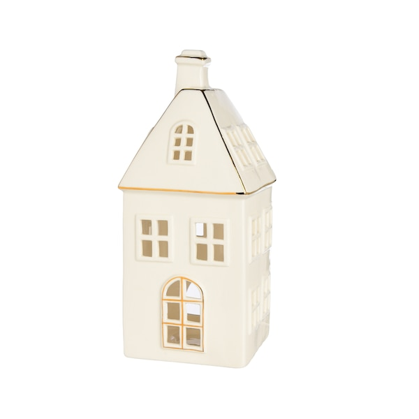 Teelichthalter Haus, weiß