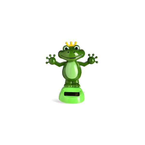 Solar-Wackelfigur Froschkönig, grün