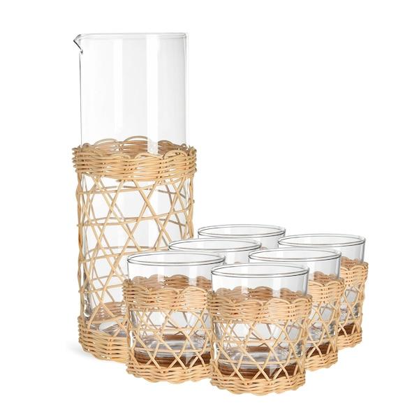 Set Karaffe mit Gläsern Weaving, 7-teilig, klar