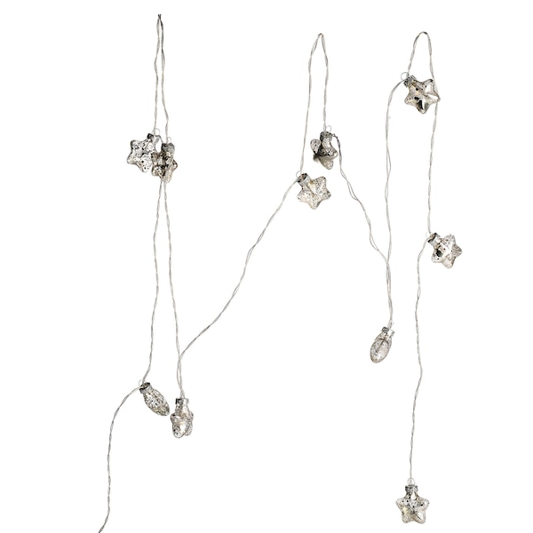 Lichterkette Glassterne, silber