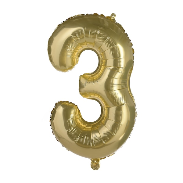 Folienballon XL Zahl 3, altgold