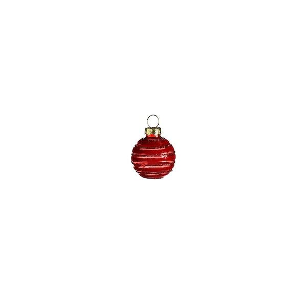 Mini-Weihnachtskugel Stripe, rot