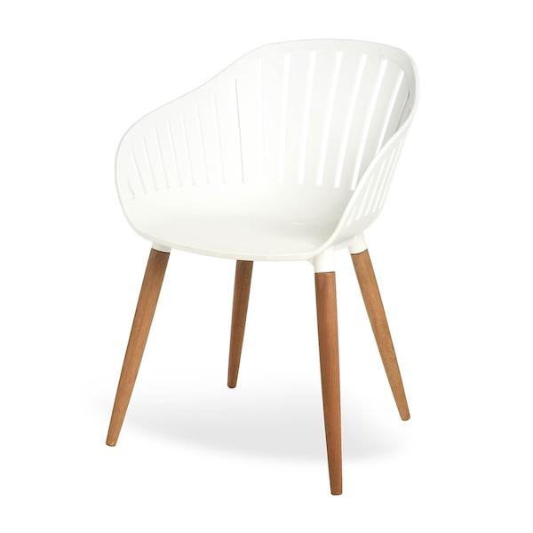 Chaise coque avec pieds en bois, blanc