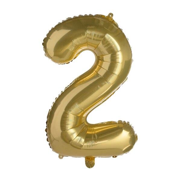 Folienballon XL Nummer 2, altgold