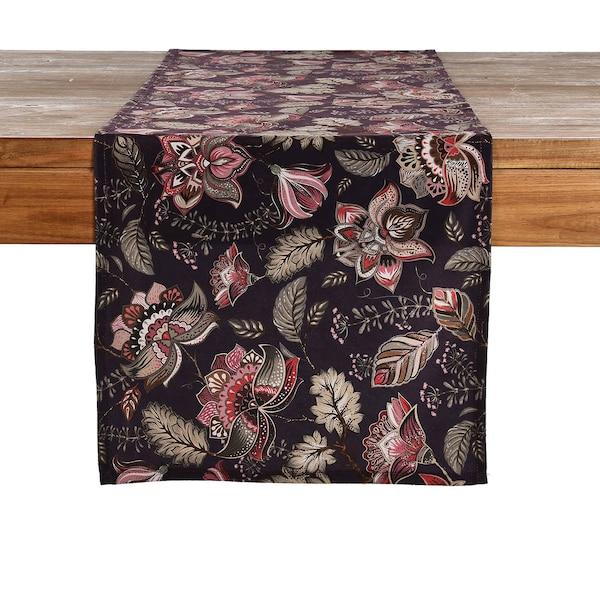Tischläufer Fantasy Flower, beere dunkel