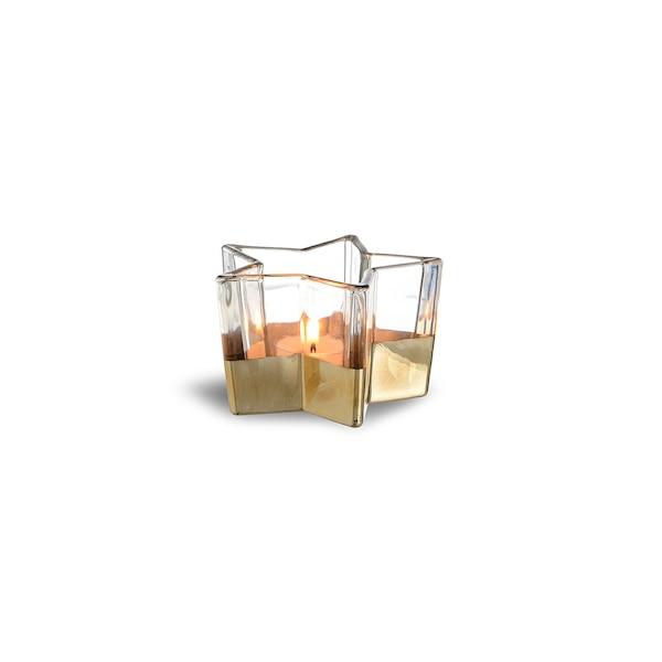 Teelichtglas Stern, gold
