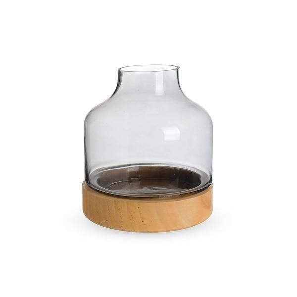 Windlichtglas, 2-teilig, grau