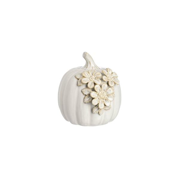 Kürbis mit Blumenverzierung , weiß