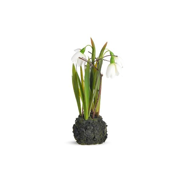 Kunstpflanze Schneeglöckchen in Erde, grün