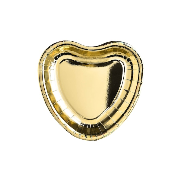 Pappteller Herzform, gold