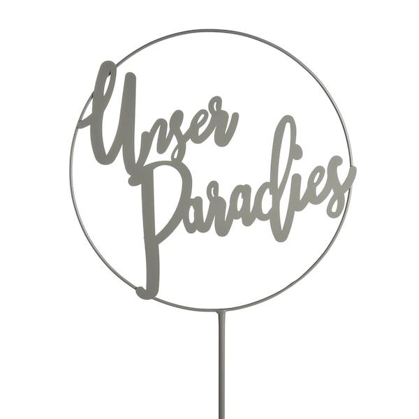Gartenstick Unser Paradies, grau
