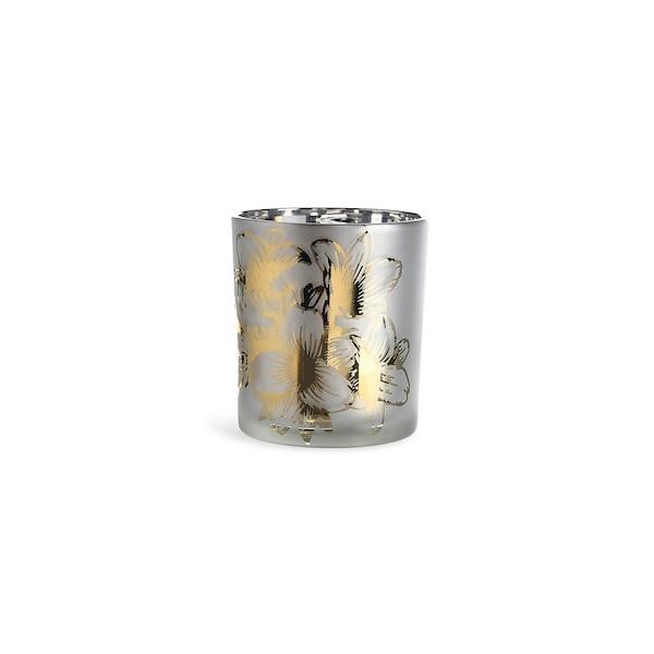 Teelichtglas Lilie, weiß