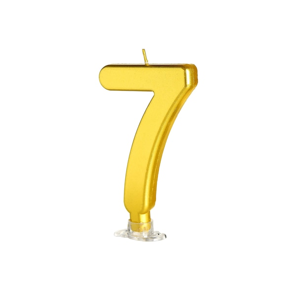 Kuchenkerze Nummer 7, gold