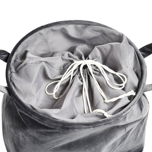 Samt-Wäschekorb, grau