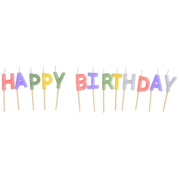 Kuchenkerzen Birthday, pastell