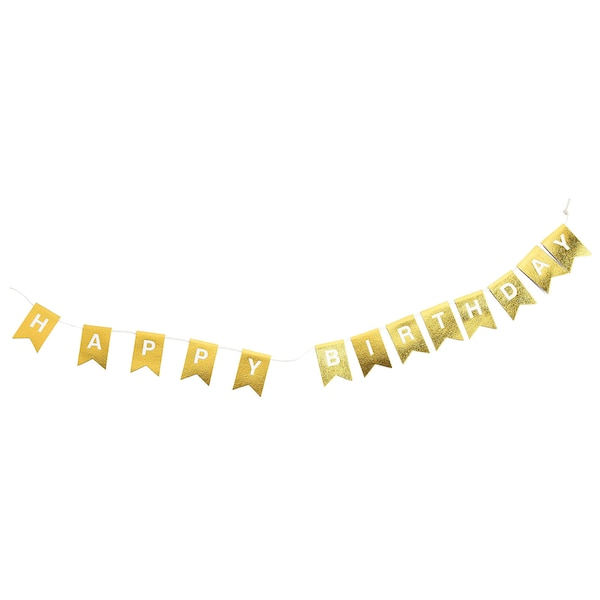 Dekogirlande Happy Birthday, gold