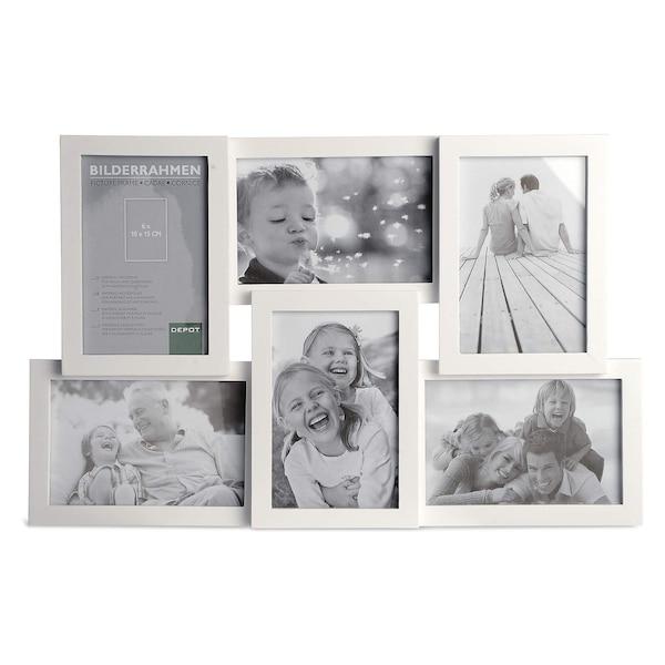 Cadre photo pour 6 photos, blanc