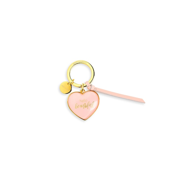 Schlüsselanhänger Herz Hello Beautiful, rosa