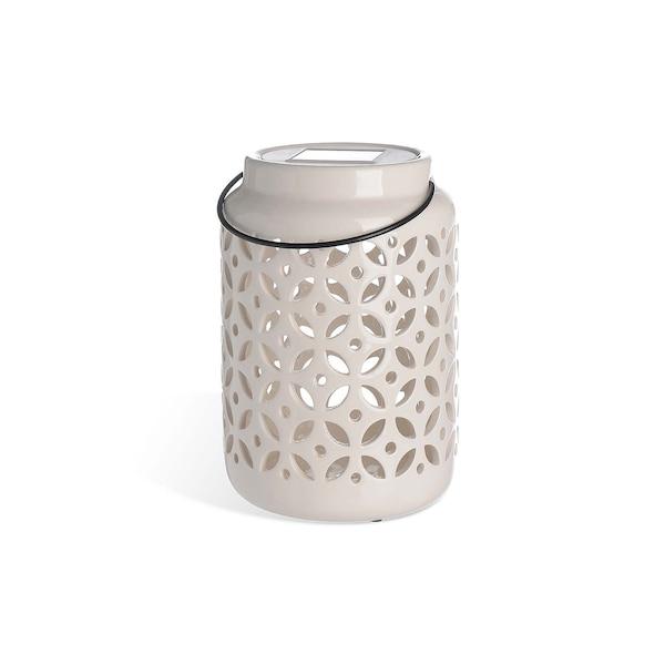 Solarleuchte aus Keramik, weiß