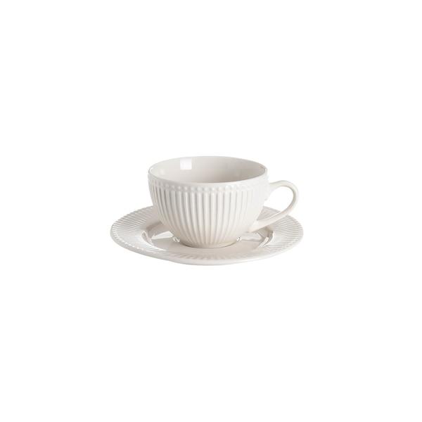 Kaffeetasse Relief mit Untertasse, creme