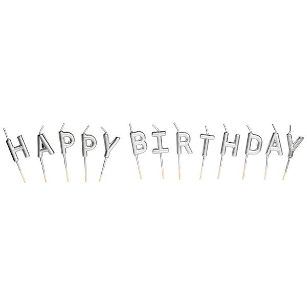 Kuchenkerzen Birthday, silber