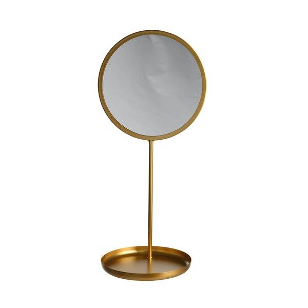 Dekotablett mit Spiegel, gold