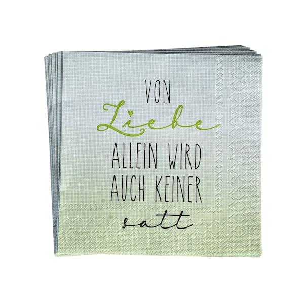 Serviette Liebe allein, hellgrün