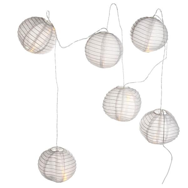 Solarlichterkette Lampion, 6 Lampions, weiß