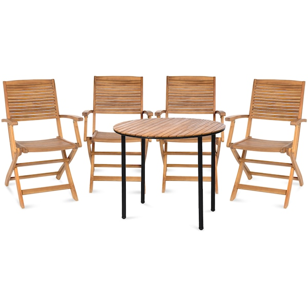 Outdoor-Sitzgruppe, 5-teilig, natur