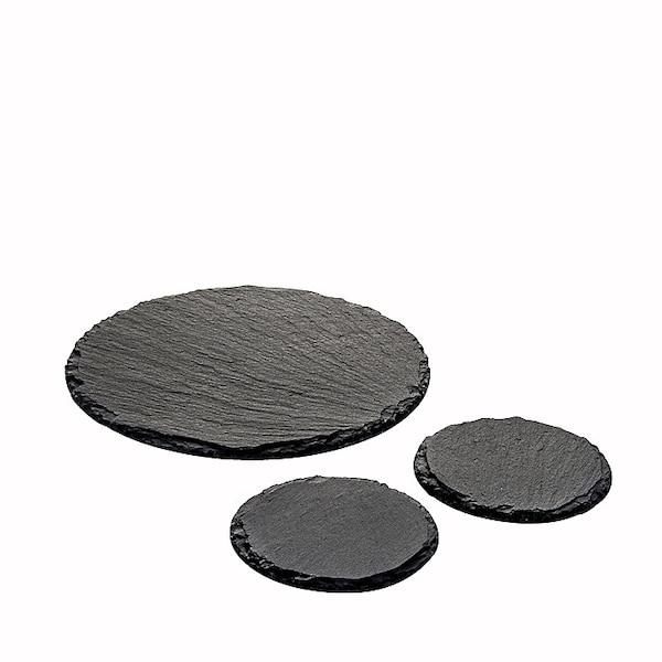 Schieferplatte rund, schwarz