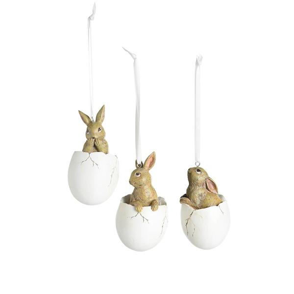 Hase im Ei, 3er Set, weiß