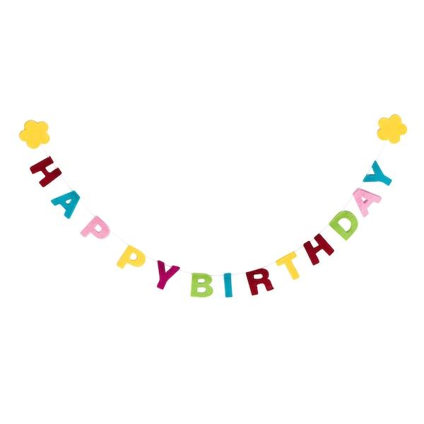 Filz-Girlande Happy Birthday, bunt