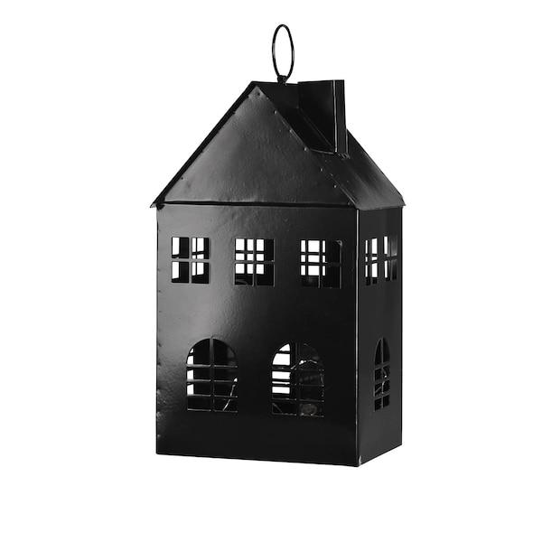 Outdoor Laterne Haus, mit 30 LEDs, schwarz