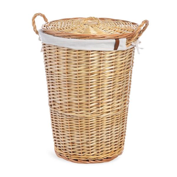 Wäschekorb mit Deckel, geflochten, natur