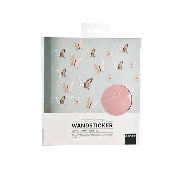Wandsticker Schmetterling, rosa