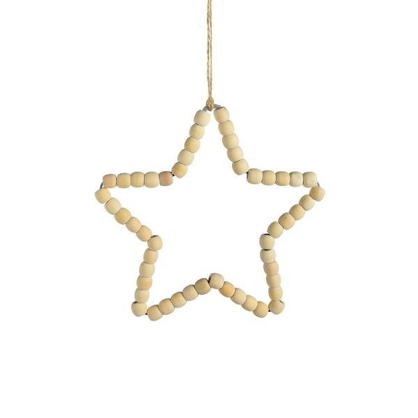 Deko-Stern aus Holzperlen, natur