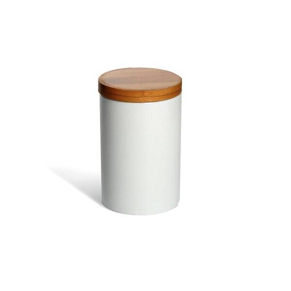 Vorratsdose mit Holzdeckel, weiß