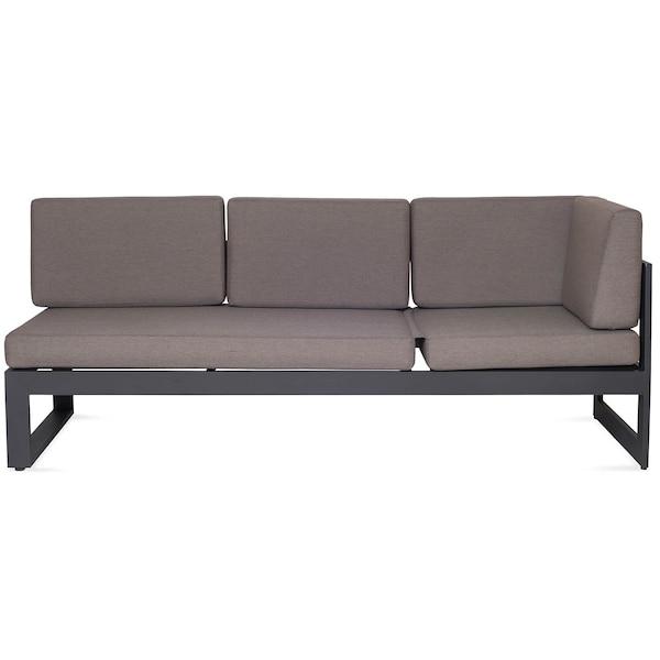 Outdoor-Dining-Loungesofa, 3-Sitzer inkl. Polster, dunkelgrau