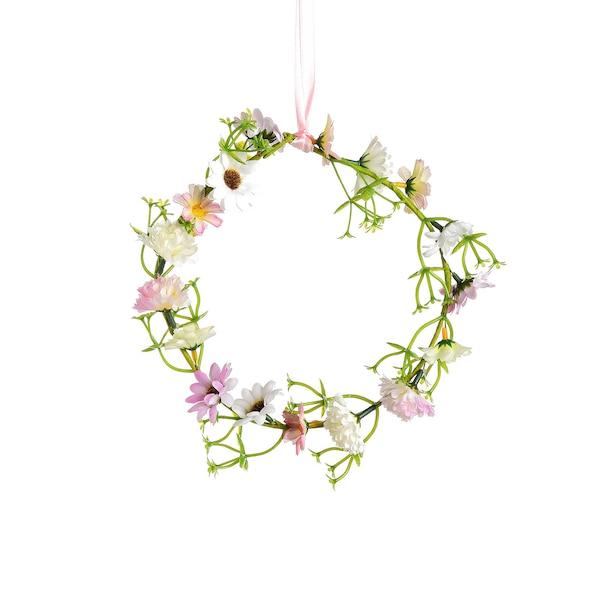 Suspension Couronne de fleurs, pastel
