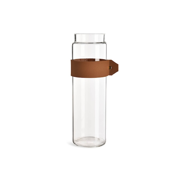 Vase aus Glas mit Band, caramel