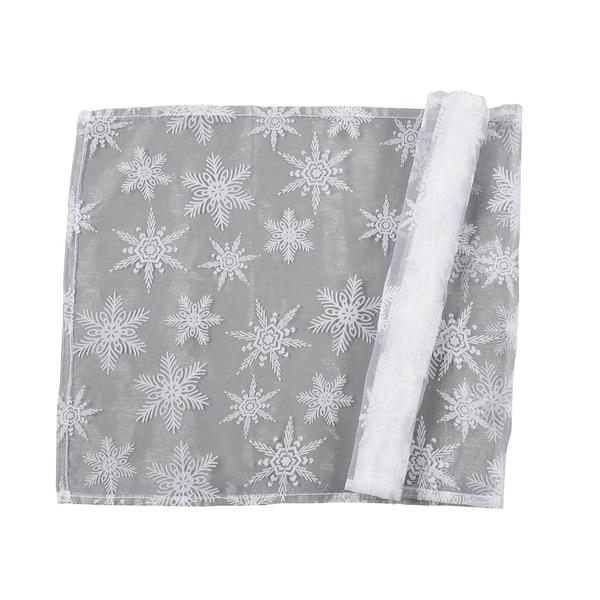 Dekostoff Schneeflocke, weiß